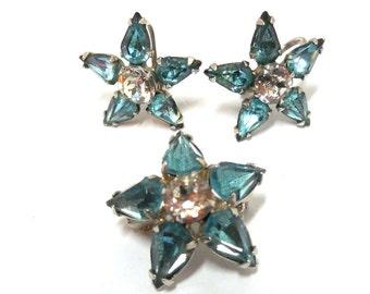 Vintage Stars Earrings/Broochs 40s grouping Rhinestone Blue & Crystal Retro Art Deco Holidays