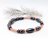 Solid Copper Tube & Black Hematite Energizing Magnetic Therapy Bracelet Super High Power Wellness Health FREE gift card