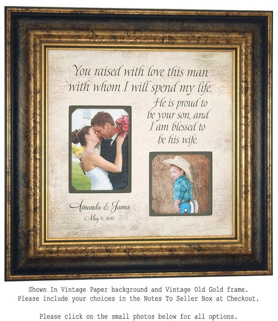 Personalized Wedding Photo Frame Gift Parents of the Groom Personalized Picture Frame Parents Thank You 16x16 You RAISED WITH LOVE