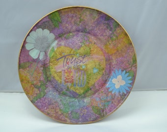"""AG Original Under Glass Decoupage Plate """"Trust in the Lord"""" Christian Decor"""