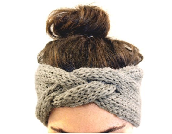 braided headband in smoke gray, hand knit headband, pure sheep's wool, braided knit headband, knitted earmwarmer