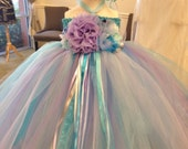 FROZEN Boutique Style Tulle Tutu dress with matching headband/hairclip- READY to SHIP!