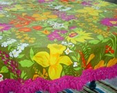 Vintage Mod Flower Power Tablecloth Hot Pink Knotted Fringe Round Handmade