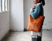 Hand Stitched Light Brown Leather Tote Bag (Large Version)