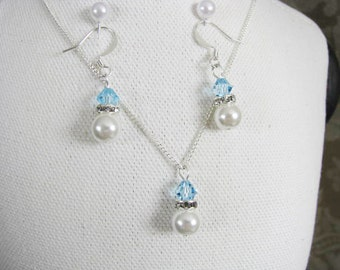 Great Bridesmaids gifts  Rhinestones and White Swarovski Pearls With Capri Light Blue Swarovski Crystals on Silver Plated Chain Necklace