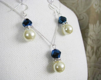 Great Bridesmaids gifts  Rhinestones and Ivory Cream Swarovski Pearls With Indigo Blue Swarovski Crystals on Silver Plated Chain Necklace