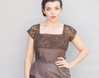 Vintage 1950's Dress - Mocha Latte - Beautiful Brown Silk and Lace Wiggle Dress