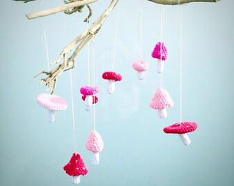 Toadstool Mobile Garland Crochet Pattern - Instant Download