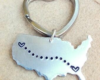 United States Keychain, Boyfriend Gift, Long Distance  Keychain, Couples Keychain, Best Friend Keychain, Personalized Keychain, natashaaloha