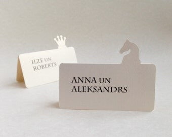 20 Standing Place Cards, Chess Themed Wedding, Alice in Wonderland Style Party, Chessboard Game, Cutout, Scrapbook, Papercut by Naboko
