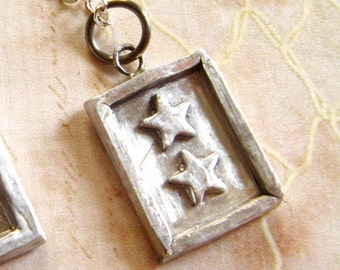 Two Star MILITARY SERVICE FLAG - Pendant Charm - Service Banner - Free Shipping