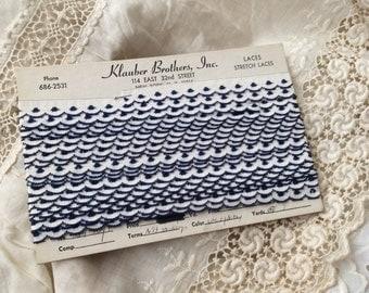Strait From The Estate Of A Doll Maker Comes This Vintage Small Navy Scalloped Lace