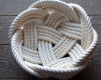 "Nautical Decor Cotton Rope Bowl Basket 10"" x 5"" Tightly Woven FREE SHIP"