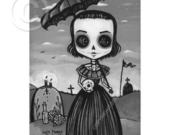 Consuelo at the cemetery 5x7 print by Lupe Flores