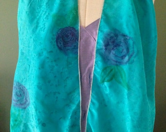 "Handpainted Silk By The Silk Maid Original Design ""Turquoise Spring""."
