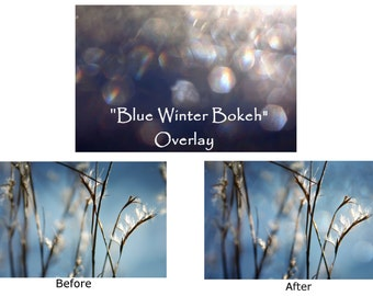 Bokeh Overlay, Overlay, Winter Overlay, Textures, Layers, Blue, Instant Download, New Year Overlay