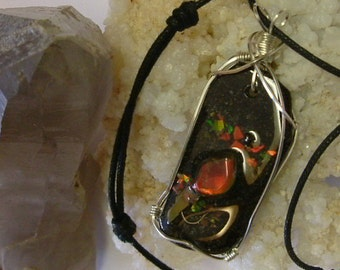 Bright Red, Green and Gold Fire Gem Ammolite From Utah Deposit, Fishing Fly Mens Cord Necklace Wire Wrapped w/Argentium Silver 500