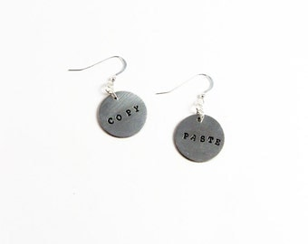 Copy and Paste Earrings (Nerd Jewelry for Writers, Graphic Designers)