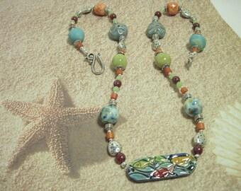 Handmade Pottery Fish Necklace Vintage Horn Beads, Czech Glass and Tibetan Silver beach sea ocean Chatty Cat's