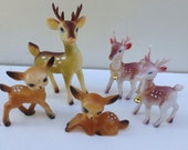 Lot of 5 Vintage Plastic Rubber Reindeer Japan