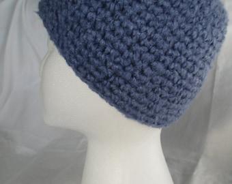 Crochet chemo skull cap hat beanie - ultra soft bamboo - denim blue