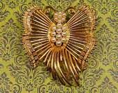 Vintage Gold Filigree LISNER Butterfly Brooch With Pearls - BUT-156 - Victorian Butterfly - Gold Filigree Brooch - Pearl Butterfly Brooch