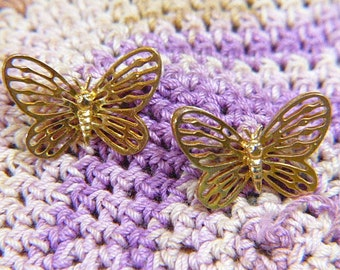 "Vintage Gold Butterfly Pierced Earrings - BUT-32 - Gold Filigree Earrings - Gold Butterfly Earrings - ""Open Work"" Style - Bi-Level Wings"