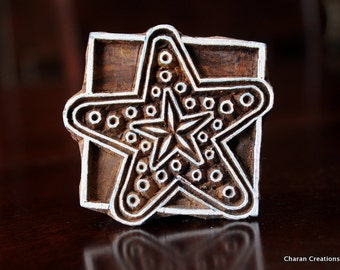 Hand Carved Indian Wood Textile Stamp Block- Starfish