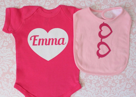 Valentines Day Set Heart with Custom Personalized Baby Name inside printed in White Glitter and Baby Bib with Heart Glasses