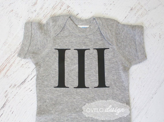 The 3rd Baby with Legacy Name Roman Numeral Baby Bodysuit