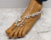 Sale CRYSTAL & CHAMPAGNE. Lovely bridal barefoot sandals made with hemp. Bellydance and beach fashion! Fancy style. HFT-993