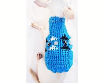 Blue Black and White Dog Clothes XXS Tank Shirts Rhinestones Pet Clothing Knit Puppies Chihuahua Sweaters DF25 Myknitt - Free Shipping