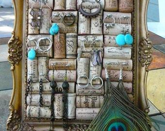 Vintage Jewelry Holder/ Picture Frame/Wine Cork Art/ OOAK/Jewelry Display / Syroco Frame/ Wedding