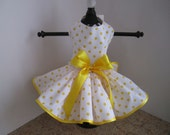 Dog Dress Xl White with Yellow  Polkadots By Nina's Couture Closet