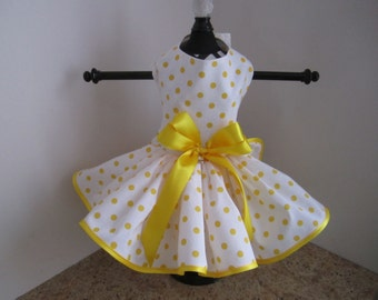 Dog Dress  White With Yellow  Polka Dots
