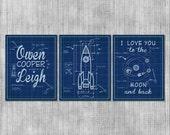 Rocket Ship Wall Art, Space Theme Kids Room, Nursery Wall Art, Moon Blueprints, Baby Boy, Love you to the Moon and Back, Set of 3 Prints
