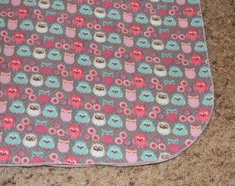Pink and Teal Owl Receiving Blanket