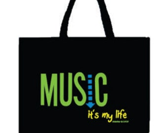 Black Canvas Music Tote Bag