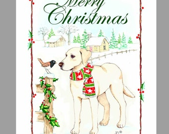 Yellow Labrador Retriever Christmas Cards,  Box of 16 Cards with 16 White Envelopes
