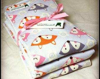 Baby Girl Burp Cloth Set - Foxes - Pink, Orange, Grey