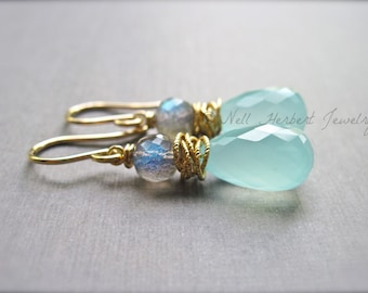 Aqua Chalcedony and Labradorite Gold Gemstone Earrings, Wire Wrapped Drop Earrings in 14K Gold Fill