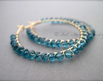 Gemstone Hoop Earrings, Teal Quartz Wire Wrapped Hoop Earrings, Gold Hoop Earrings, Beaded Hoop Earrings