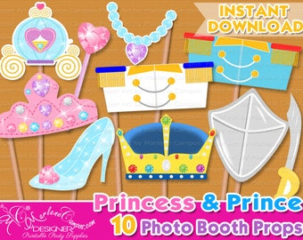 Princess photo booth props, Prince photo booth, Photo Booth Props, Princess Birthday, Photo Booth props set, Printable - INSTANT DOWNLOAD
