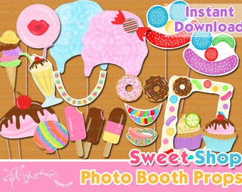 Sweet Shoppe Photo Booth Props, Sweet Shoppe Birthday, Sweet Shoppe Party, Candyland Party, photo booth props, Printable - INSTANT DOWNLOAD