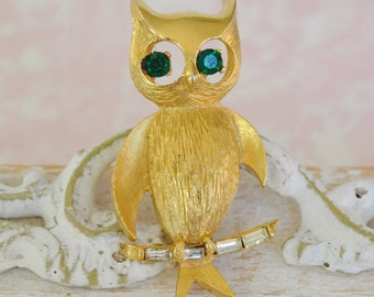 Vintage Owl Brooch with Green Rhinestone Eyes by PELL