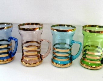 Soda Fountain Irish Coffee Beverage Glasses With Handle / Mid Century Colored Glass Gold Stripes