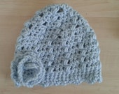 Baby Blue Hat with Flower, Spring Baby Beanie