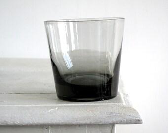 Mid Century Black Glass Set - Cocktail Glass Set - MidCentury Modern Cocktail Glasses - Black Goblets