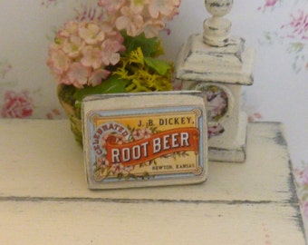 Dollhouse Miniature Shabby Root Beer Picture For your Dollhouse
