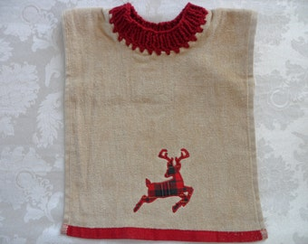 Pullover Baby Bib Towel Bib Reindeer Bib Christmas Bib